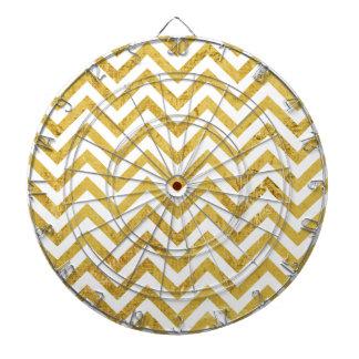 Elegant Gold Foil Zigzag Stripes Chevron Pattern Dart Board