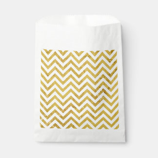Elegant Gold Foil Zigzag Stripes Chevron Pattern Favour Bag