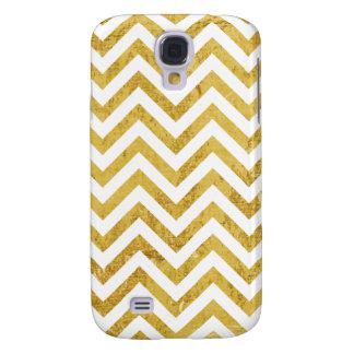 Elegant Gold Foil Zigzag Stripes Chevron Pattern Galaxy S4 Cover