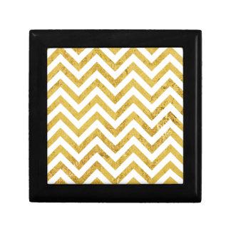 Elegant Gold Foil Zigzag Stripes Chevron Pattern Gift Box