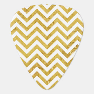 Elegant Gold Foil Zigzag Stripes Chevron Pattern Guitar Pick