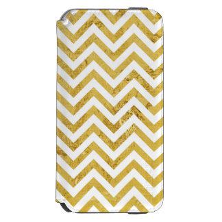 Elegant Gold Foil Zigzag Stripes Chevron Pattern Incipio Watson™ iPhone 6 Wallet Case