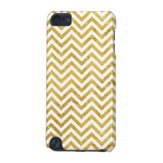 Elegant Gold Foil Zigzag Stripes Chevron Pattern iPod Touch (5th Generation) Case