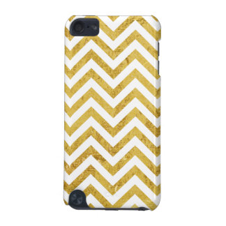 Elegant Gold Foil Zigzag Stripes Chevron Pattern iPod Touch (5th Generation) Covers