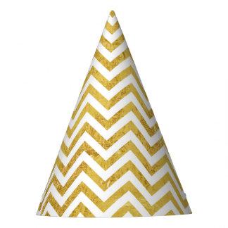 Elegant Gold Foil Zigzag Stripes Chevron Pattern Party Hat