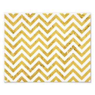 Elegant Gold Foil Zigzag Stripes Chevron Pattern Photo Print