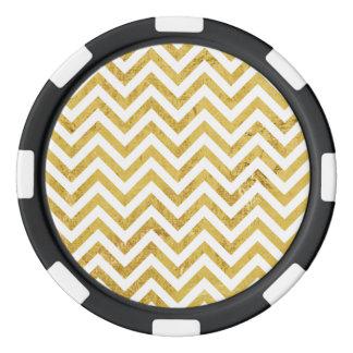 Elegant Gold Foil Zigzag Stripes Chevron Pattern Poker Chips