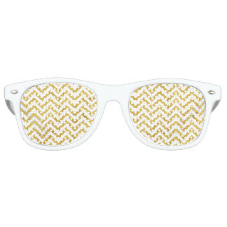 Elegant Gold Foil Zigzag Stripes Chevron Pattern Retro Sunglasses