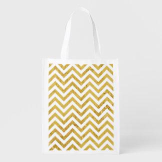 Elegant Gold Foil Zigzag Stripes Chevron Pattern Reusable Grocery Bag