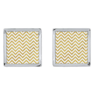 Elegant Gold Foil Zigzag Stripes Chevron Pattern Silver Finish Cuff Links