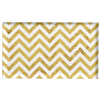 Elegant Gold Foil Zigzag Stripes Chevron Pattern Table Card Holders