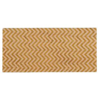 Elegant Gold Foil Zigzag Stripes Chevron Pattern Wood USB Flash Drive