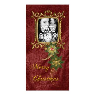 Elegant Gold Frame Christmas Customized Photo Card