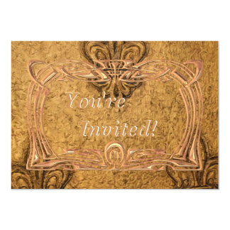 Elegant Gold Frame Fleur de Lis Mardi Gras Party 5x7 Paper Invitation Card
