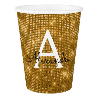 Elegant Gold Glimmer and Sparkle Monogram Paper Cup