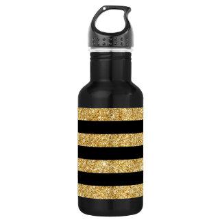Elegant Gold Glitter and Black Stripe Pattern 532 Ml Water Bottle