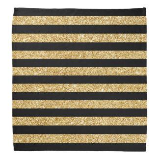 Elegant Gold Glitter and Black Stripe Pattern Bandana
