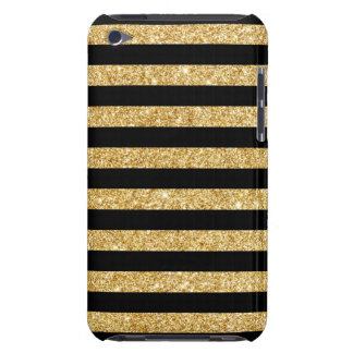 Elegant Gold Glitter and Black Stripe Pattern Barely There iPod Covers