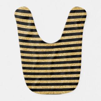 Elegant Gold Glitter and Black Stripe Pattern Bib