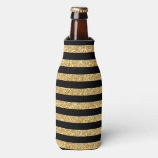 Elegant Gold Glitter and Black Stripe Pattern Bottle Cooler