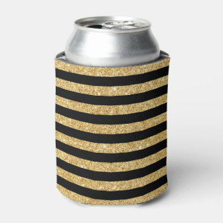 Elegant Gold Glitter and Black Stripe Pattern Can Cooler
