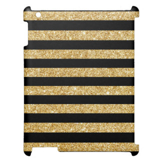 Elegant Gold Glitter and Black Stripe Pattern Cover For The iPad
