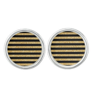 Elegant Gold Glitter and Black Stripe Pattern Cuff Links