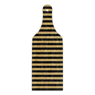 Elegant Gold Glitter and Black Stripe Pattern Cutting Board