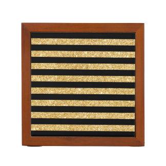 Elegant Gold Glitter and Black Stripe Pattern Desk Organiser