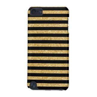 Elegant Gold Glitter and Black Stripe Pattern iPod Touch 5G Case