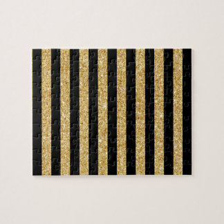 Elegant Gold Glitter and Black Stripe Pattern Jigsaw Puzzle