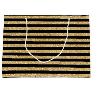Elegant Gold Glitter and Black Stripe Pattern Large Gift Bag