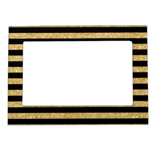 Elegant Gold Glitter and Black Stripe Pattern Magnetic Frame