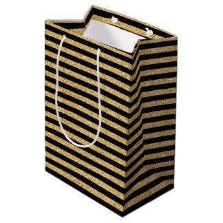 Elegant Gold Glitter and Black Stripe Pattern Medium Gift Bag