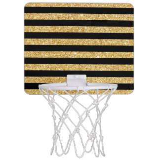Elegant Gold Glitter and Black Stripe Pattern Mini Basketball Hoop