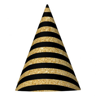 Elegant Gold Glitter and Black Stripe Pattern Party Hat