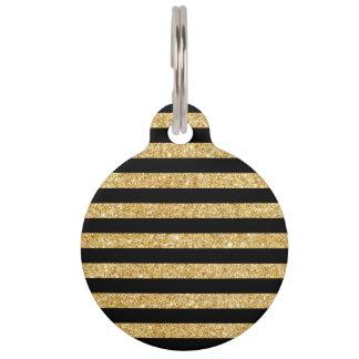 Elegant Gold Glitter and Black Stripe Pattern Pet Name Tag