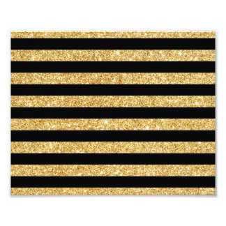 Elegant Gold Glitter and Black Stripe Pattern Photo Print