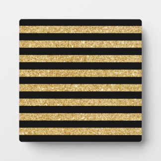 Elegant Gold Glitter and Black Stripe Pattern Plaque