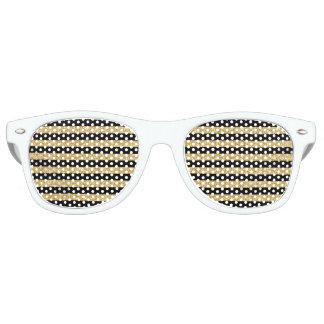 Elegant Gold Glitter and Black Stripe Pattern Retro Sunglasses