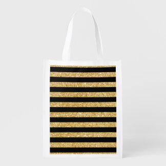 Elegant Gold Glitter and Black Stripe Pattern Reusable Grocery Bag