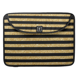 Elegant Gold Glitter and Black Stripe Pattern Sleeve For MacBook Pro