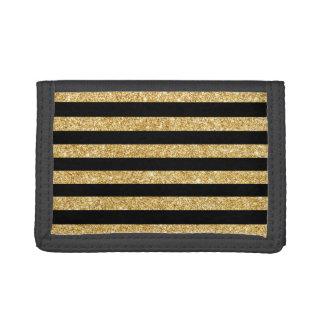 Elegant Gold Glitter and Black Stripe Pattern Tri-fold Wallet