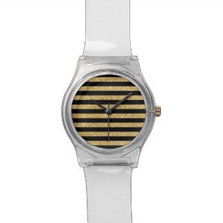 Elegant Gold Glitter and Black Stripe Pattern Watch