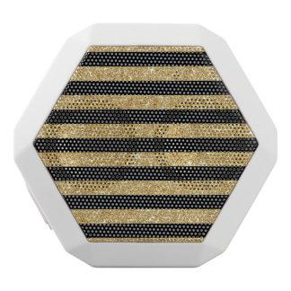Elegant Gold Glitter and Black Stripe Pattern White Bluetooth Speaker