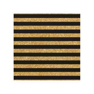 Elegant Gold Glitter and Black Stripe Pattern Wood Wall Art