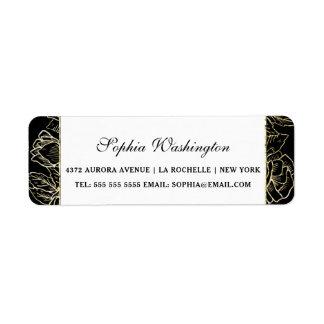 Elegant Gold Glitter & Black Wedding Address Return Address Label