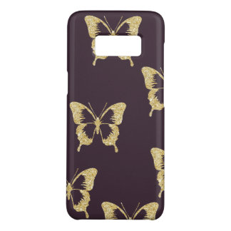 elegant gold glitter butterfly Case-Mate samsung galaxy s8 case