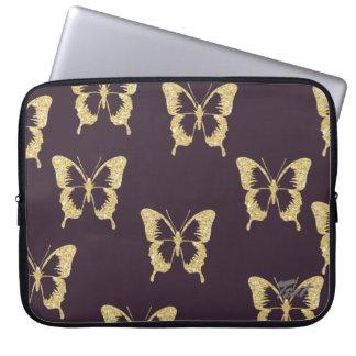 elegant gold glitter butterfly laptop sleeve