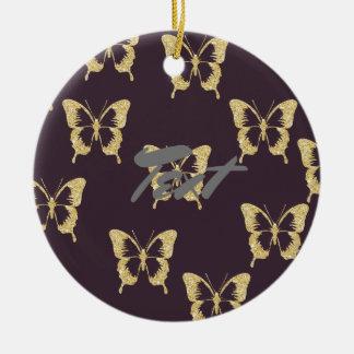 elegant gold glitter butterfly round ceramic decoration